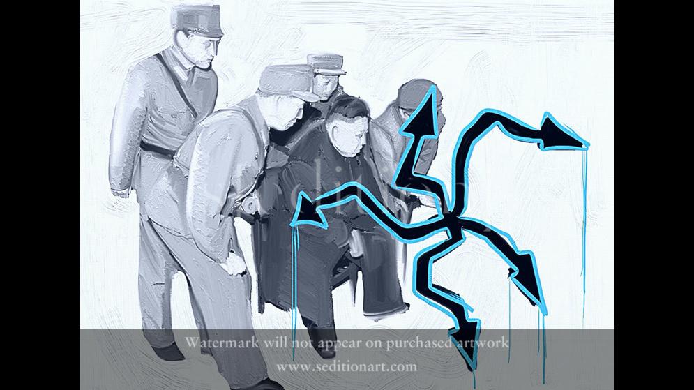 Kim Dzong Un recognized graffiti by Pikaso