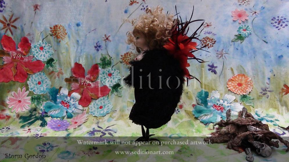 The Siren strolling in her flowery meadow by Storm Gordon