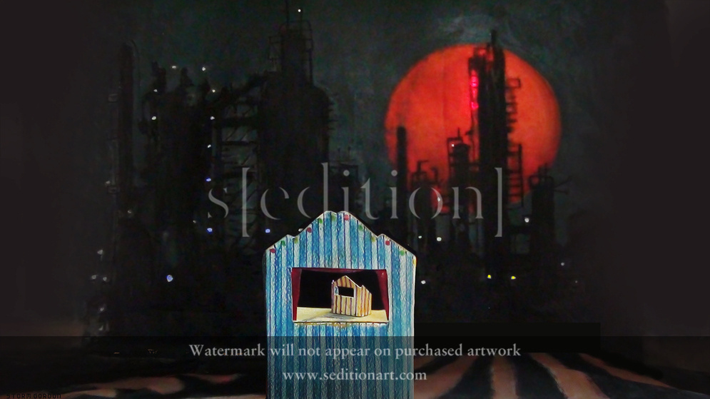 Puppet theatre & oil refinery by Storm Gordon
