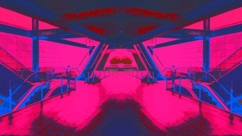 Escalator Jungle In Pink And Blue