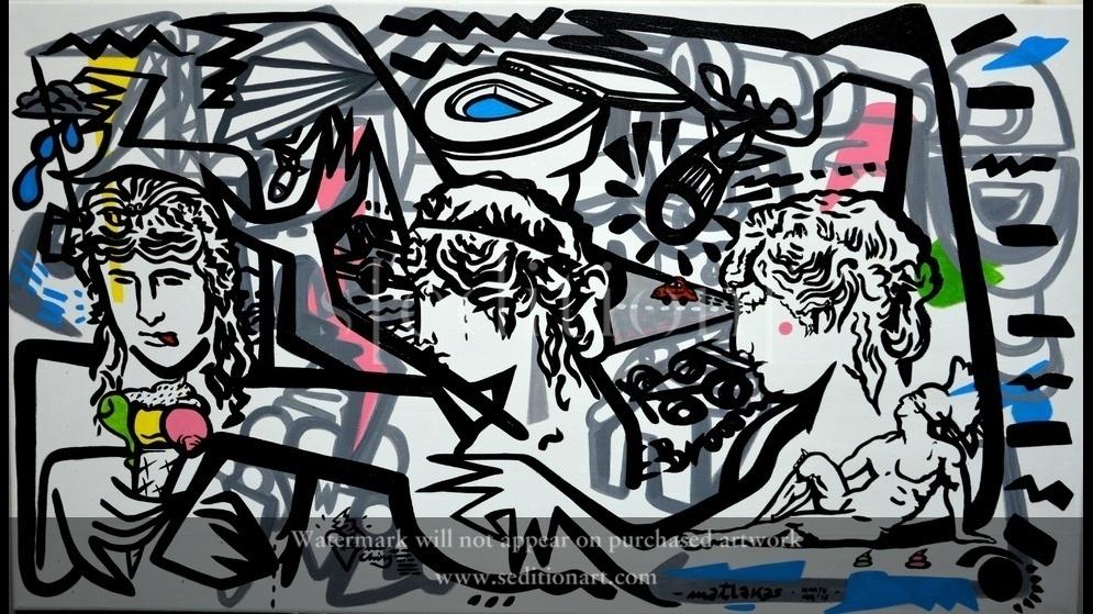Riccardo Attanasio _Ice Ching_130x70cm, Oil and acrylic on canvas by Riccardo MAtlakas