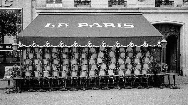 France, Paris, 1971, Champs Elysées Café