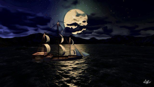 Sailboat canvas painting during full moon