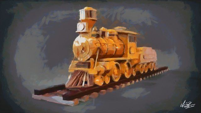 Old train canvas painting