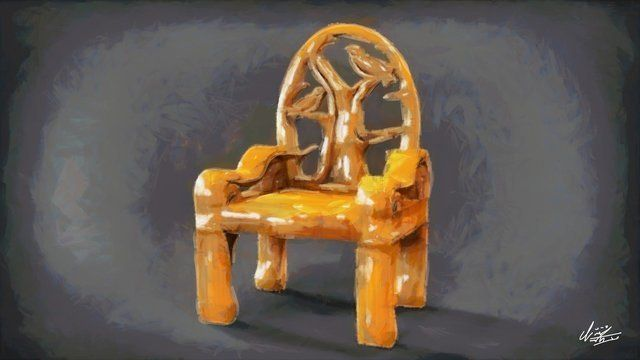 Chair canvas painting with bird design