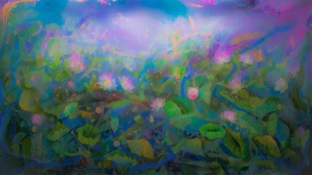 Lotus Pond 72x120 (I) - Acrylic on Canvas - July 2021